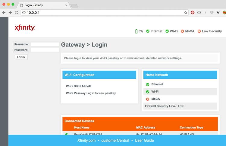 10.0.0.1 Xfinity Router Login