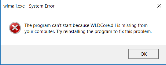 WLDCore.dll is Missing Error on Windows 10