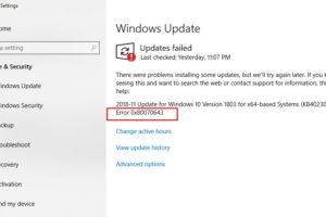 Windows Update Error Code 0x80070643