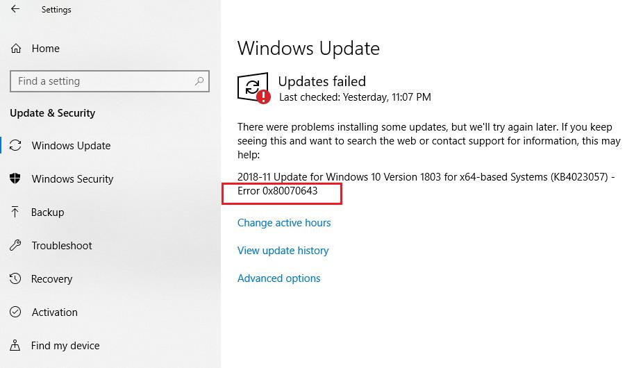 Windows Update Error Code 0x80070643